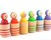 Rainbow Peg Dolls in Pots - Montessori Cylinder Style Learning Toy - Potted Gnomes by MDH Toys