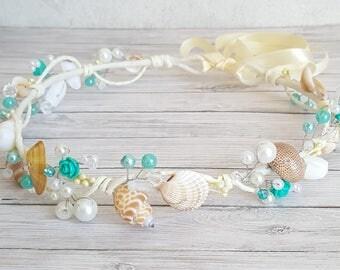 Beach Bridal Tiara,Wedding SeaShell Headpiece,Pearls Beach Crown,Aqua Beach Wedding Accessories,Mermaid Headpiece handmade by CyShell