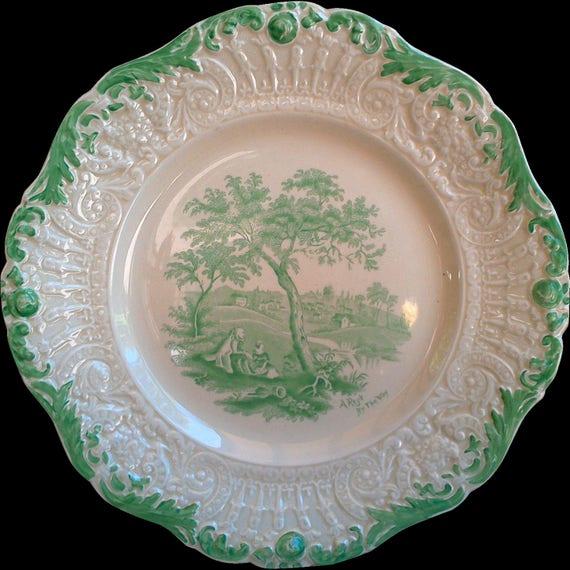 Antique Green Transferware Ridgway Humphreys Dinner Plate, Humphreys Clock, Serving, Wall Decor, England, Chas Dickens, Green