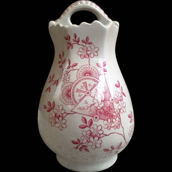 """Aesthetic Movement Red Toothbrush Holder, E M & Co., Edge Malkin, Ironstone, 6 1/2"""", Dacca, Staffordshire, England, between 1871-1903"""