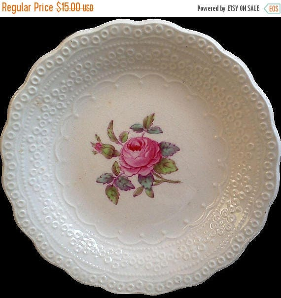 """50% off Vintage Spode's """"Billingsley Rose"""" Berry Bowl, Small Dish, Spode Jewel Copeland Spode, Red/Pink Transferware,  Rose, English Tra"""