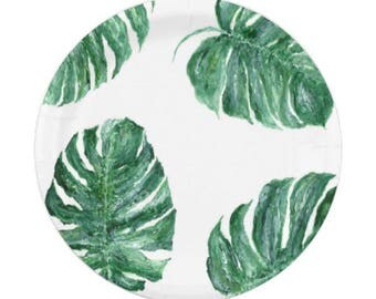 Palm Leaf Paper Plates, monstera leaf plates, tropical leaf plates, palm leaf plate, palm leaf plates, monstera party, leaf paper plates