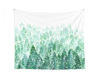 Forest Wall Tapestry, forest tapestry, pine tree tapestry, green wall tapestry, tree wall tapestry, forest wall hanging, woodland tapestry