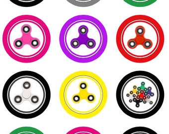 Fidget Spinners party favor tags goodie bags cupcake toppers stickers round 2 inch printable download label 22807