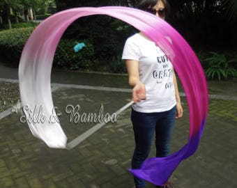1 pc 2.5m*0.3m white-pink-purple silk streamer, for dance or play, real light silk, intercangeable sticks