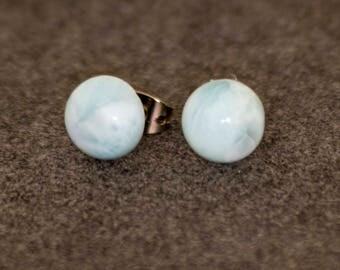Simple Sweet Light Aqua Blue Larimar Stud Earrings