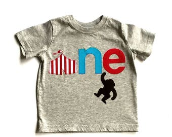 Circus Birthday Theme//First Birthday// One//Boy//Shirt//Monkey//Birthday Shirt//Campfire//READY TO SHIP