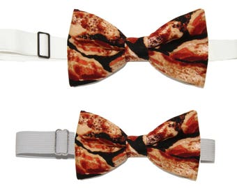 Choice of 1 Men's or Boy's Bacon Pre Tied Cotton Bow Tie On Adjustable Strap Pre-Tied Bowtie