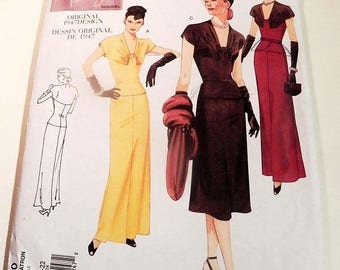 SALE 1940s Evening gown yoke gathered bust drop waist flared skirt sewing pattern Vogue 2610 Plus Size 18 20 22 Bust 40 42 44""