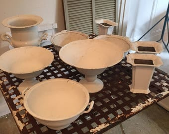 Collection of Vintage Silver Plate Painted with Gesso