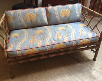 Mid Century Faux Bamboo Metal Settee