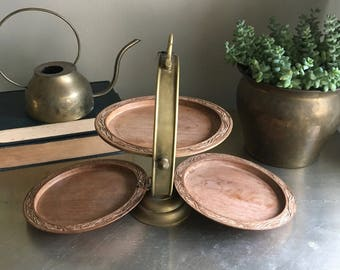 vintage 3 tier dessert stand brass and wood folding collapsible boho serving tray