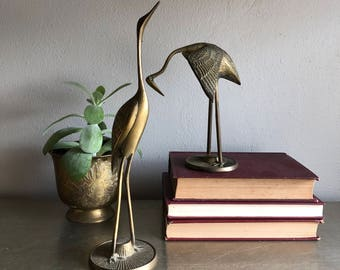 vintage brass bird figurines crane heron stork chinoiserie decor