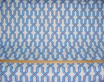2-1/8 Yard Quadrille / China Seas 6300 Gorrivan Fretwork Navy Periwinkle - Linen Lattice Trellis Print Upholstery Fabric - Free Shipping