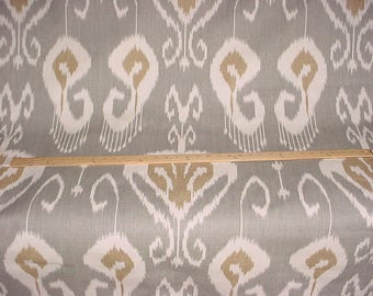 1-3/8 yards Kravet / Echo Bansuri in Slate - Exotic Printed Ikat Luxury Linen Drapery Upholstery Fabric - Free Shipping