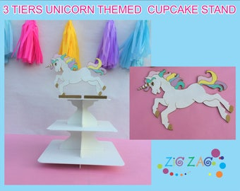 3 Tiers unicorn themed cupcake stand