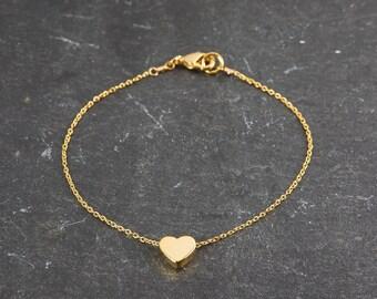 Dainty Gold Heart Bracelet, Little Gold Heart, Delicate Fine Chain, Simple, Delicate and Dainty Bracelet