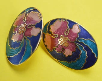 Vintage Enamel Cloisonne Orchid Earrings  1980s