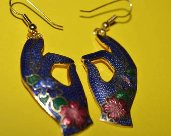 Vintage Cloisonne Enamel Hand  Earrings 1980s