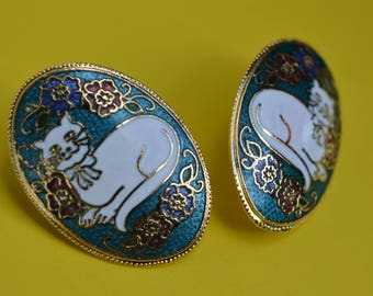Vintage Earrings  Turquoise Enamel  Cloisonne  White Cat 1980s