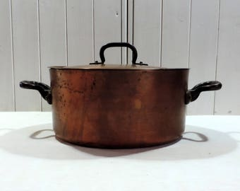Enormous Pierre Vergnes 2mm copper stock pot, sauce pan, sautee pan, casserole with brass handles, vintage french professional cooking pot