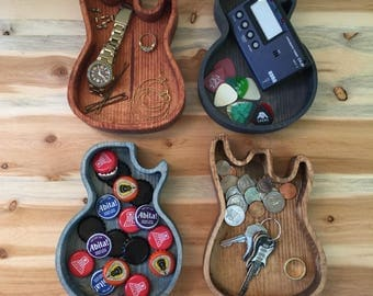 Wooden Guitar Dish, Wooden Ring Dish, Wood Catchall, Catch All Dish, Trinket Dish, Desk Organizer, Nightstand, Gift For Guitar Player,Gibson