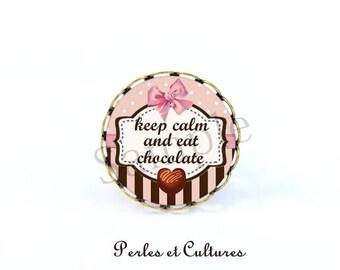 Keep calm and eat chocolate ღ ღ retro ring Pearl chocolate heart pink polka bow ღ