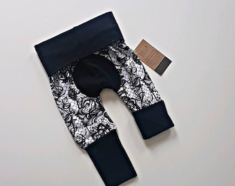 Black lace bootie pants//Grow with me pants //Maxaloones
