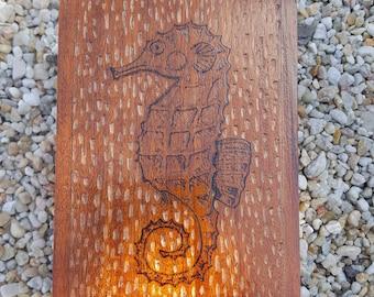 Upcycled cigar box seahorse woodburning