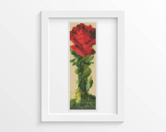 Red Rose Bookmark Cross Stitch Pattern PDF, Rose Cross Stitch Chart, Art Cross Stitch, Stitch Bookmark, Catherine Klein (BK40)