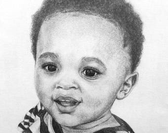 Custom Realistic Charcoal and Graphite Portrait Drawings