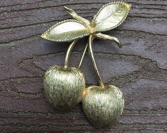 Vintage Signed Sarah Coventry Cherries  Pin Brooch