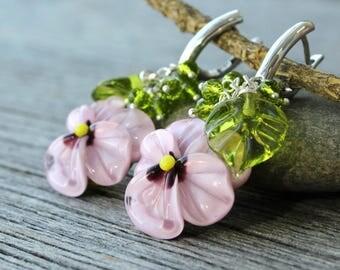 Pansy Earrings, Lampwork Earrings, Flower Earrings, Floral Earrings, Glass Earrings