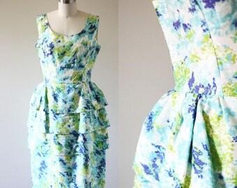 1960s floral peplum dress // 1960s layers dress // vintage dress