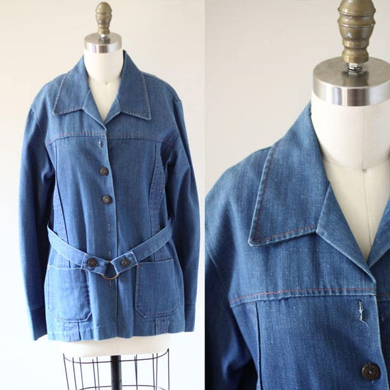 1970s Denim Jacket // pink stitch jean jacket // vintage denim jacket