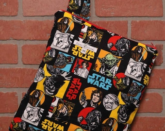 Cloth Diaper Wetbag, Star Wars, flannel, Diaper Pail Liner, Diaper Bag, Day Care Size, Holds 5 Diapers, Size Medium with Handle item #M79