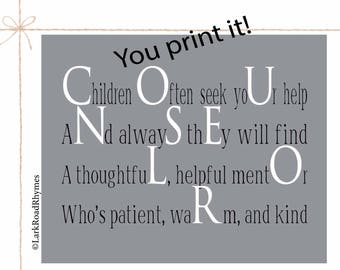 School Counselor Printable Counselor Gifts Counselor Office Decor School Counselor Print Counselor Art Counselor Office Art Poem 8x10