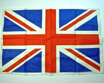 "UNION JACK BRITISH Flag Tea Kitchen Towel, Linen, Richard Douglas, Great Britain, 30"" x 20"""