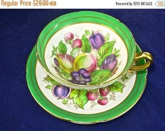 ON SALE ORCHARD Fruits Cup and Saucer, Signed Robinson, Stanley Bone China, Green & Gold Tea Cup, England