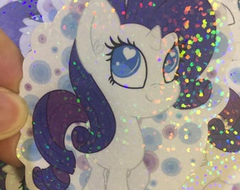 Rarity Mane 6 MLP My Little Pony inspired 3in holographic sticker