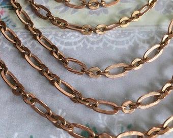 Vintage Brass Figaro Chain, Vintage Copper Chain, 9.5mm, 4FT