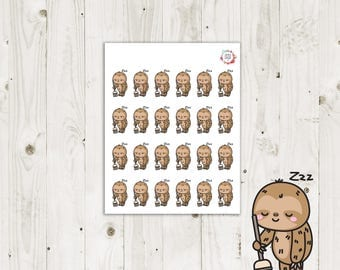 Lazy Sloth Cleaning Planner Stickers - ECLP Stickers