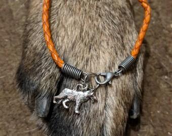 German Shepherd Braided Leather Charm Bracelet