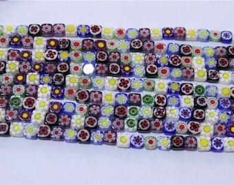 65 thread multicolored flat square millefiori glass bead