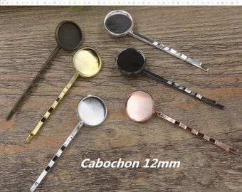50 supports for cabochons 12mm silver plated clip hair barrette
