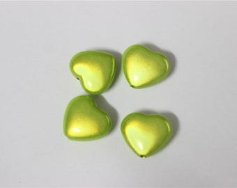 2 acrylic beads magic anise green miracle heart