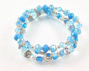 SALE - Stackable Light Aqua Stretch Bracelets - Set of Three Stretch Bracelets