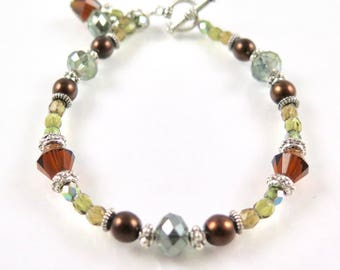 MAJOR MARKDOWN - Rich Autumn Green and Brown Colored Delicate Beaded Bracelets with dangles