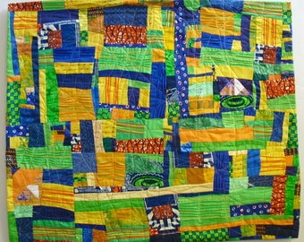 Fiber Art large wall hanging,contemporary art quilt, bright yellow, lime, navy, orange,redirected materials,African fabrics, texture,bold