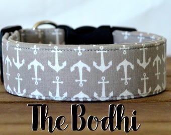 "Nautical Grey & White Anchor Dog Collar ""The Bohdi"""